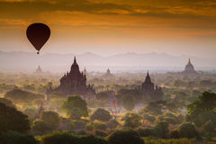 Hot air Balloon over Pagoda Fields Stock Photo