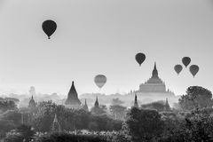 Hot air balloon over plain of Bagan in misty morning, Mandalay, Myanmar stock photography
