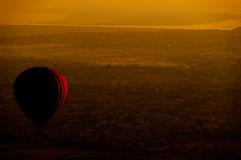Hot air balloon over plain of Bagan in morning, Myanmar stock image