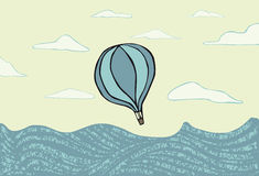 Hot air balloon over the se royalty free illustration