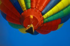 Hot air balloon overhead. Hot air balloon in competition ribbon toss, during Anderson SC balloon festival Stock Photo