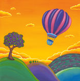Hot air balloon painting scenery. Acrylic painting of hot air balloon scenery with orange sky and colorful mountains Royalty Free Stock Image