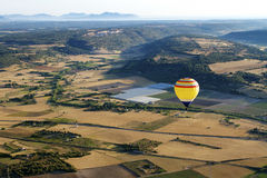Hot air balloon, Palma de Mallorca. Aerial view of Palma de Mallorca (Spain) with a hot air balloon flying over the fields Stock Images