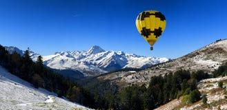 Hot air balloon with Pic du Midi de Bigorre  Pyrenees Royalty Free Stock Photography