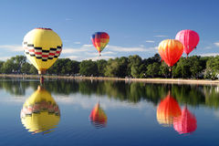 Hot air balloon pilot flight travel. Hot air ballooning landscape hills mountains Stock Images
