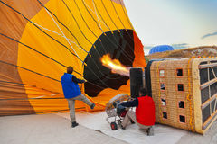 Hot air balloon and pilots at Cappadocia Turkey Stock Photos