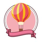 Hot air balloon pink background. Isolated vector illustration graphic design stock illustration