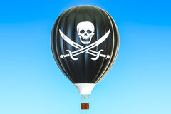 Hot air balloon with piracy flag, 3D. Hot air balloon with piratical flag, 3D rendering Royalty Free Stock Photo
