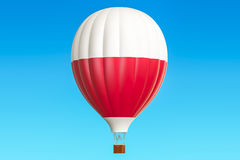 Hot air balloon with Polish flag, 3D Royalty Free Stock Images