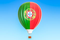 Hot air balloon with Portugal flag, 3D. Rendering Royalty Free Stock Photography