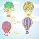 Hot air balloon with poster set Stock Photos