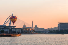 Hot air balloon in Putrajaya. PUTRAJAYA, MALAYSIA - MAC 14, 2015 - Hot air balloon floats over sunrise skies at the 6th Putrajaya International Hot Air Balloon Stock Images