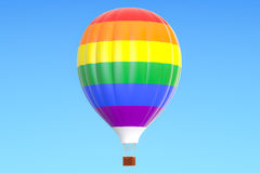 Hot air balloon with rainbow flag, 3D rendering Royalty Free Stock Photos