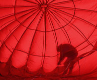 Hot air balloon red silhouette bend Royalty Free Stock Photography