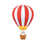 Hot air balloon. Red with white stripes. Vector illustration, flat cartoon design, isolated on white background stock illustration