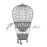 Hot Air Balloon. Retro style hand pencil drawn hot air balloon vector illustration Stock Images