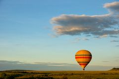 Free Hot Air Balloon Ride On The Big Green Plains Of Masai Mara In Kenya/africa. Stock Photography - 164012832
