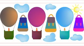 A hot air balloon ride. Traveler`s backpack. Fly in the sky with clouds stock illustration