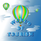 Hot air balloon ride.The world of tourism. Vector image. Symbol, icon to cartoon Royalty Free Stock Images