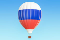 Hot air balloon with Russia flag, 3D. Rendering Stock Photography