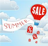 Hot air balloon SALE sign Stock Photo