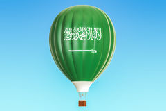 Hot air balloon with Saudi Arabia flag, 3D rendering Royalty Free Stock Images