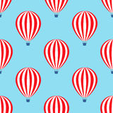 Hot air balloon seamless pattern. Baby shower vector illustrations on blue sky background. Royalty Free Stock Images