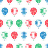 Hot air balloon seamless pattern. Baby shower vector illustrations  on white background. Stock Photography