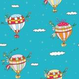 Hot air balloon seamless pattern. Funny travel idea Royalty Free Stock Photo