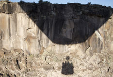 Hot Air Balloon Shadow over the Rio Grande Gorge Royalty Free Stock Photo