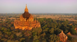 Hot air balloon shadow on stupa,bagan,myanmar (bur Stock Photo