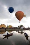 Hot air balloon show on ancient temple in Thailand International Balloon Festival 2009. Stock Photo