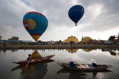 Hot air balloon show on ancient temple in Thailand International Balloon Festival 2009. Royalty Free Stock Images