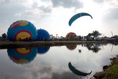 Hot air balloon show on ancient temple in Thailand International Balloon Festival 2009. Stock Image