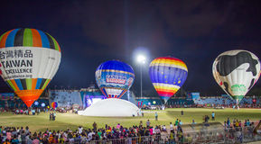 Hot air Balloon show at night. In the stadium of Songkla, Thailand Royalty Free Stock Photography