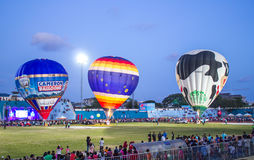 Hot air Balloon show at night. In the stadium of Songkla, Thailand Stock Photography