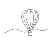 Hot air balloon sign. Continuous line drawing icon. Vector illustration Stock Photo