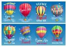Hot air balloon sketch banner for travel design Royalty Free Stock Photos