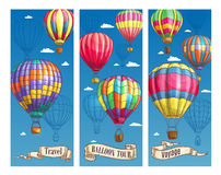 Hot air balloon sketch banner for travel design Royalty Free Stock Photo