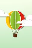 Hot air balloon in the sky. Applique with hot air balloon in the sky Stock Photo