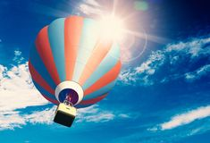 Hot Air Balloon on the Sky. Hot Air Balloon on the Blue Cloudy Sky. 3D Illustration Royalty Free Stock Images