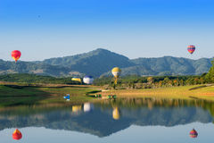 Hot air balloon  on sky Stock Images