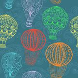 Hot air balloon in sky, seamless background. Hot Air Balloon in sky, hand drawn seamless Background for Design Royalty Free Stock Image