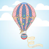 Hot air balloon in the sky invitation card Royalty Free Stock Photography