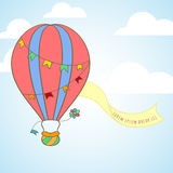 Hot air balloon in the sky invitation card Royalty Free Stock Photo