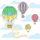 Hot air balloon in the sky invitation card. Hot air balloon with poster in the sky invitation card can be used for holiday cards, wedding invitation, postcard stock illustration