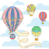 Hot air balloon in the sky invitation card. Hot air balloon with poster in the sky invitation card can be used for holiday cards, wedding invitation, postcard vector illustration