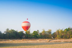 Hot air balloon on sky in Laos Royalty Free Stock Images
