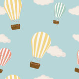Hot air balloon in the sky seamless background vector Stock Images