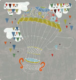 Hot Air Balloon in sky. With tea cup and abstract clouds, hand drawn Background for Design Stock Images